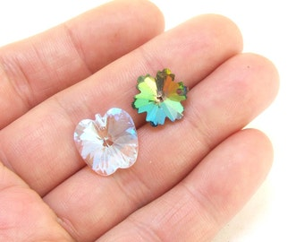 two faceted Apply Flower superb glass beads as photo