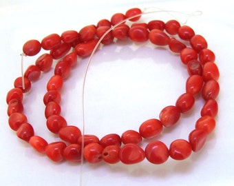 One Strand nugget Red Coral Gemstone Beads Strand 6mmx7mm 17inch