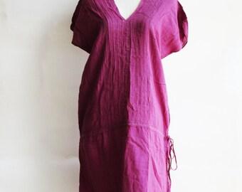 D21, V Neck Purple Cotton Dress
