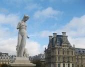 Paris Photography - Nude Statue, Louvre, Paris, France, blue sky, dog, clouds, palace, Jardin des Tuileries, parc, Spring, April in Paris