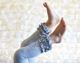 Gray Cotton Ruffle Footless tights