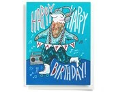 Birthday Card: Roller skates and boom boxes, illustrated and hand-lettered in blue and red