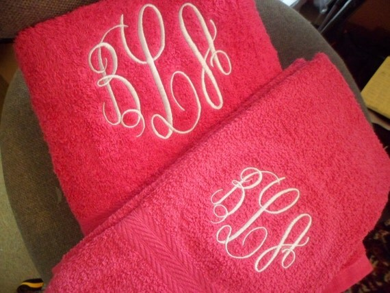 VALENTINE'S  Monogrammed towel set...2 bath - 2 hand towels monogrammed with a three letter monogram for  men and women