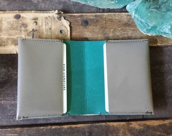 Handmade Grey and Teal Leather Billfold Wallet