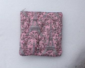 Pink Eiffel Tower Zippered Bag