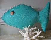 Beach Decor Turquoise Fish Shaped Pillow with Sundial Seashell Eyes