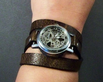 leather watch-Women Watch-Steampuck Watch-Brown Watch-Wrap Watch-Gifts For Her-Gifts For Women-Leather Gifts-Friendship Gifts-Gifts