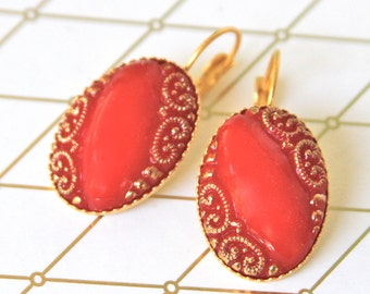 Vintage Cherry Red and Gold Oval Glass Lever Back Drop Dangle Earrings - Wedding, Bridal  Bridesmaid