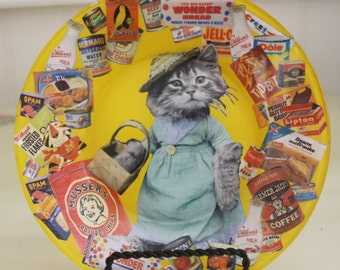 Shopping Cat Decoupaged Plate