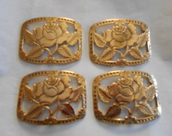 Set of 4 Curved Gold Plated Brass Buckle Style Stampings/Embellishments Rose in Center