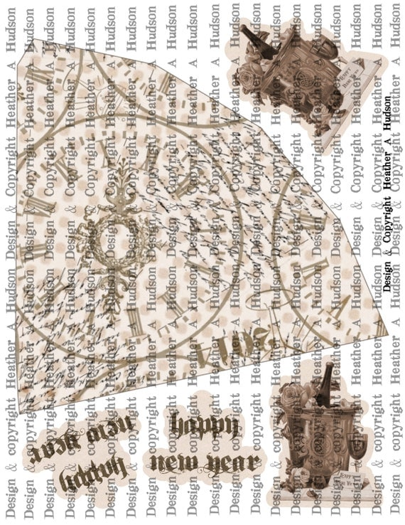 New Year's Eve Tussie Mussie Cone Day  tags Digital Collage sheet Printable