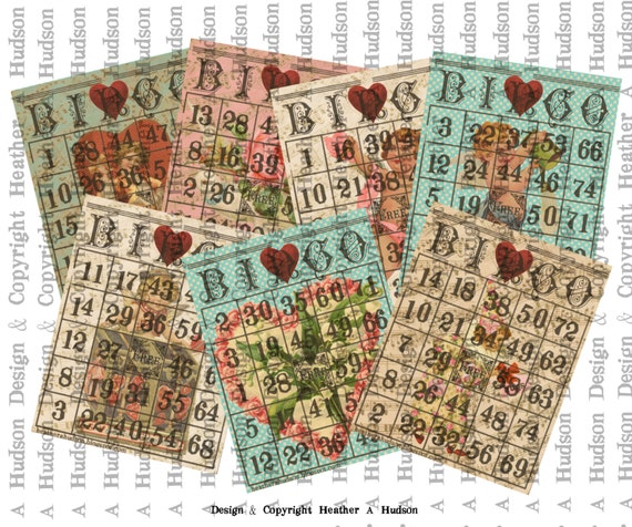 28 Vintage Valentine's Day Bingo Game Playing Cards (actual cards numbered different so you can actually play game) Collage Sheet Printable