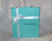 Set of 4 EXTRA LARGE Personalized Blue Gift Bags Favor Boxes Other Colors Available -- A Precious Memory Designs