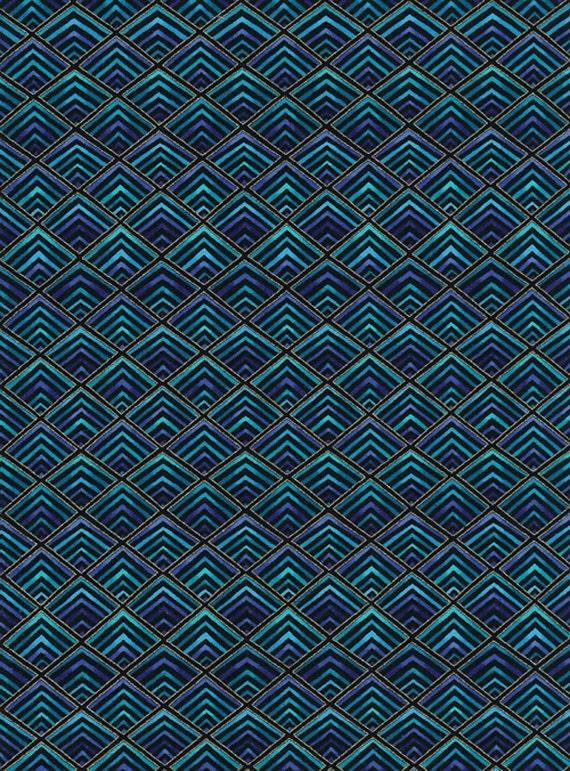 Aqua Color Plume Designer Print Cotton By The By