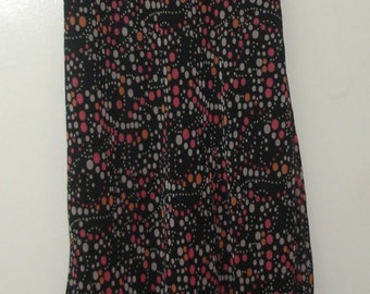 Vintage Black Multi Dot Retro 40's Print Poly Chiffon Sleeveless Scarf Hem Long Dress Sz 12-Jonathan Martin Studio