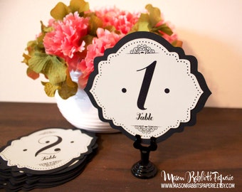 Betty Wedding Table Number Set - Black & Cream