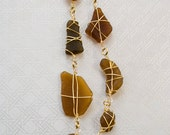 Gold Wrapped Small Auburn Sea Glass Long Necklace