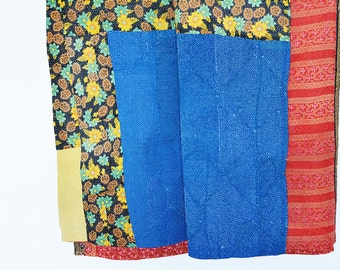 4 layer Reversible Vintage Kantha Quilt , Kantha Bed Spread , Kantha Throw