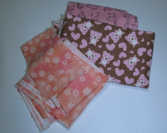 Flannel Fabric Scraps in pink and peach