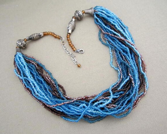 Multi Strand Blue Brown Bead Necklace, Layered bead blue necklace on sale