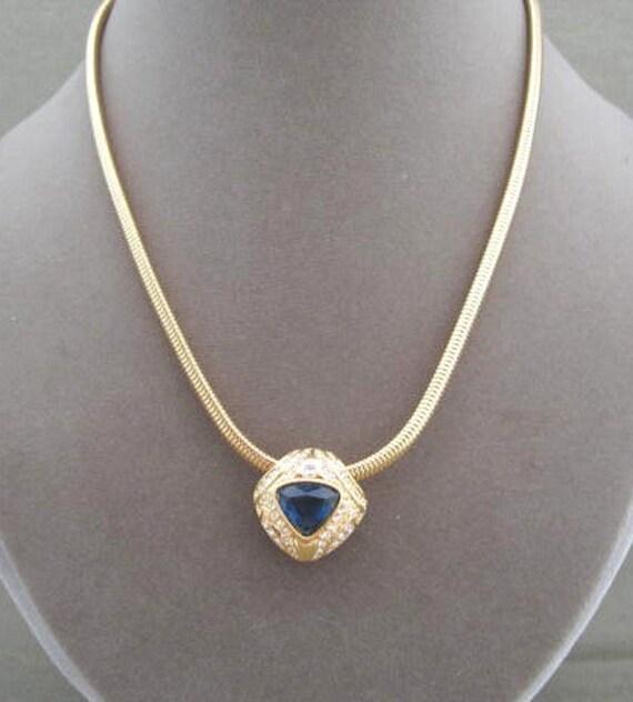 Nolan Miller Blue Sapphire Enhancer Necklace, Designer signed necklace