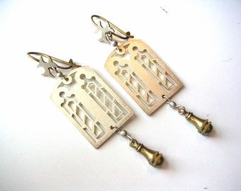 architectural church window earrings, laser cut sterling silver, real gold victorian earwires and brass machined drops