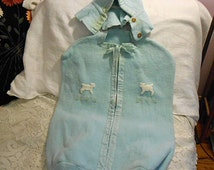 Soft Blue BABY BUNTING Sleep SACK & Hood, Comfy Warm Fleece, Lambs Embroidered Flowers Ribbons Buttons Zipper, Handmade Cozy Chill Chaser