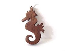 Seahorse Pendant Wooden Sea Animal Necklace Nautical Beach Jewelry Hand Cut Scroll Saw Wood Walnut