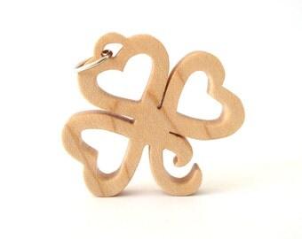 Shamrock Pendant Necklace Wooden St. Patrick's Day Ireland Irish Heritage Jewelry Maple Hand Cut Scroll Saw Pendant