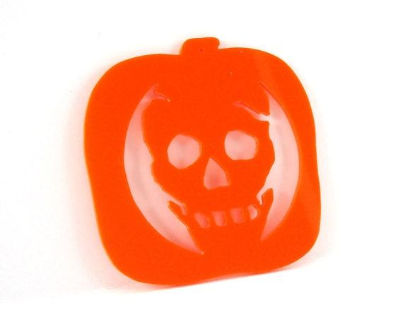 Halloween Ornament Decoration Skeleton Skull Carved Pumpkin Design Hand Cut Acrylic
