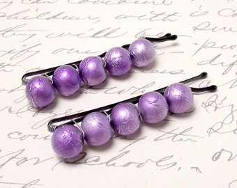 Metallic Purple Beaded Bobby Pins. Orchid Purple Hair Accessories. Violet Purple Hair Pins.