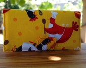 Long wallet with cooking chooks in yellow