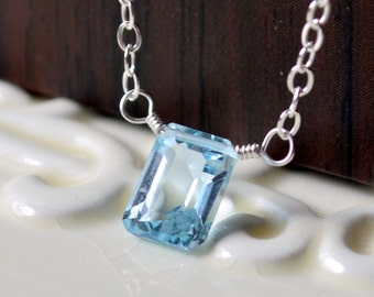 Genuine Blue Topaz Necklace, Child Children Girl, Sterling Silver, Pale Emerald Cut Gemstone, December Birthstone Jewelry