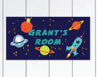 Boys DOOR SIGN Outer-space, Kids Bedroom Personalized Wall Art with UFO, Stars, Spaceship and Monster