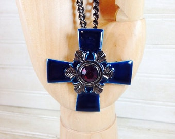 Vintage Deep Blue Enamel Cross Necklace