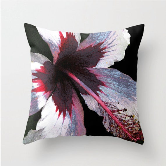 Red Hibiscus Decorative Pillow : Pillow Cover Pink Hibiscus Pink Black Hawaii Island art