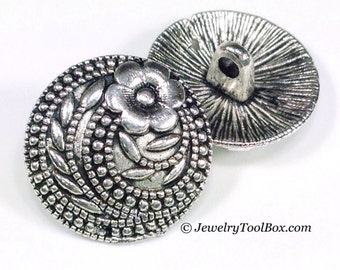Buttons, Metal, Shank, Bracelet Clasps Vintage Floral Design, Pewter with Antique Silver Finish, 17mm Round, Lot Size 5 to 30, #1015