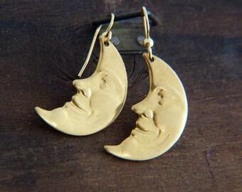 Mystic Moon Earrings - Bohemian Earrings - Gypsy Earrings - Boho Jewelry - Moon Face Earrings