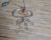Silver and Copper Wire Jellyfish Necklace