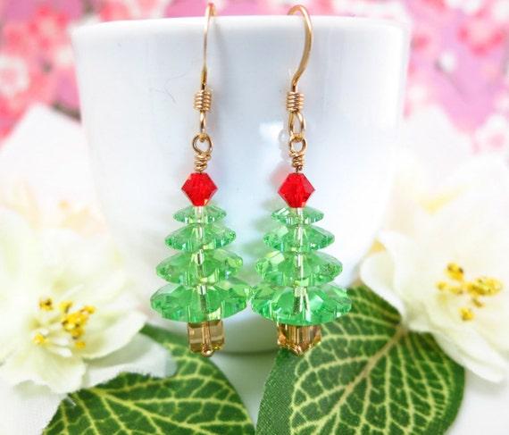 Swarovski Crystal Christmas tree gold earrings, Festive Christmas tree earrings, red and green Christmas earrings, Santa Christmas earrings