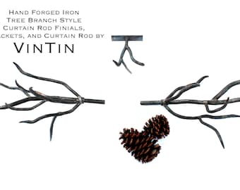 Hand Forged Iron Tree Branch Style Curtain Rod Finials, Brackets, and Curtain Rod by VinTin