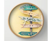 "Wall Clock Summer Decor - Vintage Wooden Travel Signs -  Directions Arrows Decor  Yellow Aqua Beach Ocean Nautical Decor - ""GOING PLACES"""