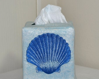 Blue Seashell Tissue Box Cover