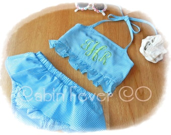 Custom, Personalized Toddler Bikini Swimsuit in 3 Bright Colors, Choice of Monogram and Thread Color