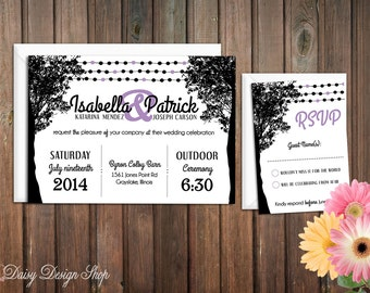 Wedding Invitation - Trees and String Lights - Invitation and RSVP Card with Envelopes