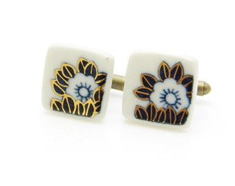 Classical Japanese patterns hand painted porcelain cufflinks 010