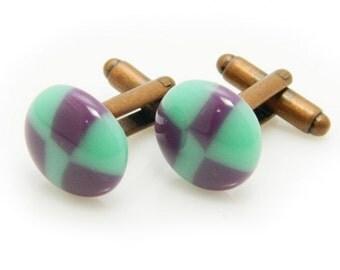 Handmade Glass cufflinks bubbles 026