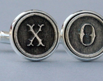 Custom  Cufflinks Initial Letter Cuff Links Wedding Personalized Gift Typewriter Key Groomsman Antiqued Silver