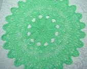 Mint green handmade crochet tabletop centerpiece with pineapple and popcorn stitch design