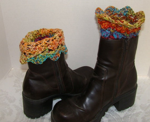 Hand Crochet boot cuffs in Mexican fiesta colors with scallop edging